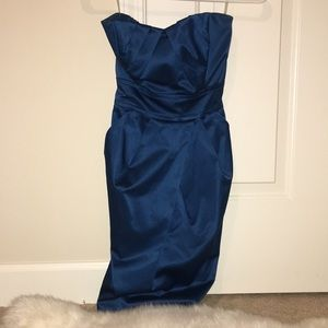 WORN ONCE Teal Strapless Dress W/ Pockets!